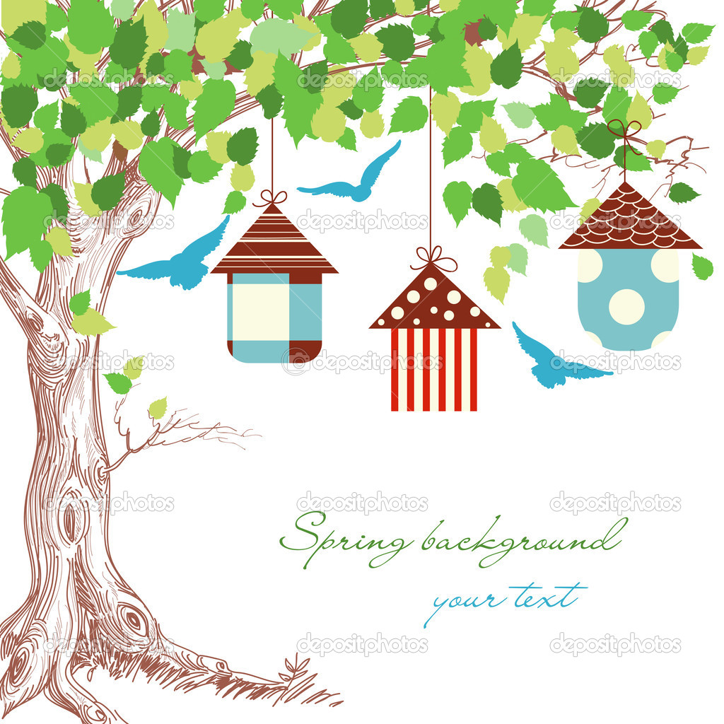 Spring tree, birdcages and blue birds background  Stock Vector #8641107