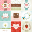 Vettoriale Stock : Greeting cards and cupcakes set