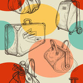 Travel bags seamless pattern — Stock Vector