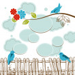 Birds tweeting social media concept with clouds speech bubbles - Stock Vector