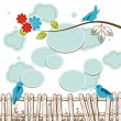 Stock Vector: Birds tweeting social media concept with clouds speech bubbles
