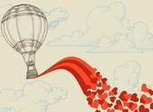 Aire caliente globo volador corazones concepto romántico — Vector de stock
