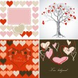 Love greeting card set — Stok Vektör