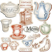 Vintage kitchen tools and food icons set — Stock Vector