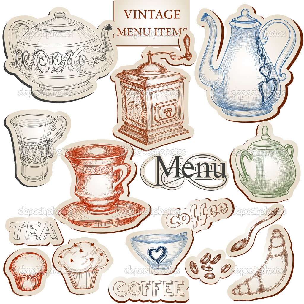 vintage kitchen tools and food icons set  stock vector © danussa, Kitchen design