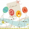 Easter sale tag, decorative eggs background — Stock Vector