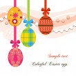 Hanging Easter eggs and ribbons background — Stock Vector