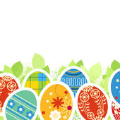 Ornate Easter eggs and green leaves border — Stock Vector