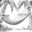 Stock Vector: Hammock and palm trees drawing