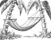 Hammock and palm trees drawing — Stock Vector