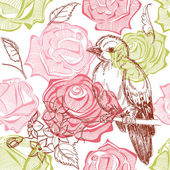 Bird and flowers seamless pattern — Stock Vector