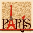 Paris lettering over vintage floral background — Imagens vectoriais em stock