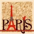 Stock Vector: Paris lettering over vintage floral background