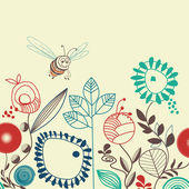 Bees floral garden — Stock Vector