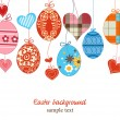 Easter background, hanging colorful eggs over white — Stock Vector