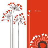 ベクターの花の愛カード — ストックベクタ