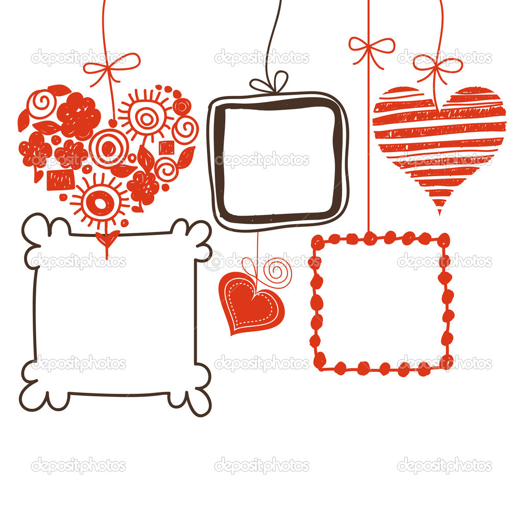 Hearts and doodle frames for text or photo — Stock Vector #9622741