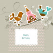 Funny friends on a tree branch; happy birthday card — Stock Vector #9743405