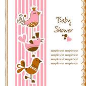 Funny birds baby shower — Stock Vector