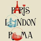 パリ、ロンドン、ローマ レタリング — ストックベクタ