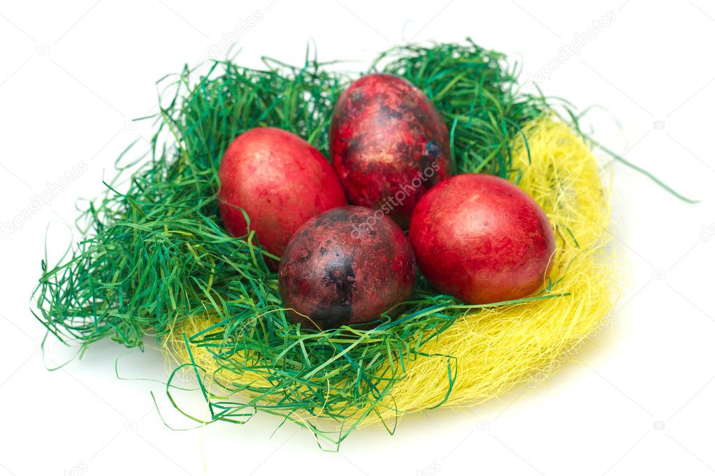 Easter eggs in nest isolated on white background — Stock Photo #10098731