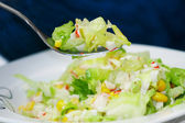 Green salad with crab meat — Stock Photo