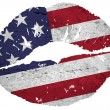 Kissing the american flag — Stock Photo #8887327