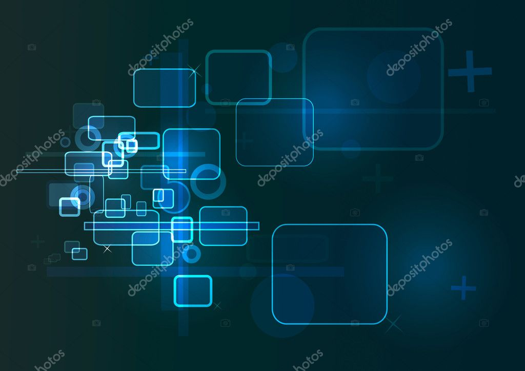 Blue technology based background in blue, black and white colors. — Stock Vector #9129294