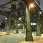 Night metallic bridge — Stock Photo