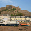 View of  Mont Orgueil diring low-tide - Stock Photo