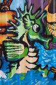 Street art seahorse — Stock Photo