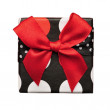 Retro gift box top with bow - Stock Photo