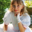 Girl going to the first holy communion — Stock Photo