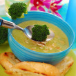 Broccoli soup with almonds — Stock Photo