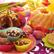 Easter confectionery on festive table — Stock Photo