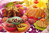 Easter confectionery on festive table — Stok fotoğraf