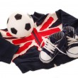 Equipment of little english football fan — Stock Photo