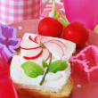 Diet breakfast with radish flower for child — Stock Photo
