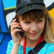 Young girl talking with mobile phone — Stok fotoğraf