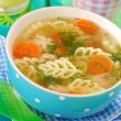 Chicken soup with noodle for child — Stock Photo #10550384