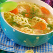 Chicken soup with noodle for child — Stock Photo