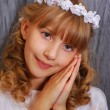 Girl going to the first holy communion — Stock Photo #10622228