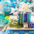 Christmas table with gift box decoration on plate — Stock Photo #7997495