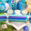 Stock Photo: Festive table with christmas cracker decoration