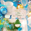 Christmas table with visiting card holder on the plate — Stock Photo