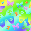 Colorful butterflies on rainbow background - Stock Photo