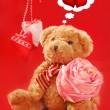 Teddy bear for valentines - Stok fotoğraf
