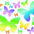 Rainbow butterflies on white background - Stock Photo