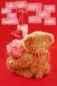 Teddy bear choosing the best girl — Stock Photo