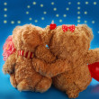 Valentine`s date of teddy bears couple — Stock Photo